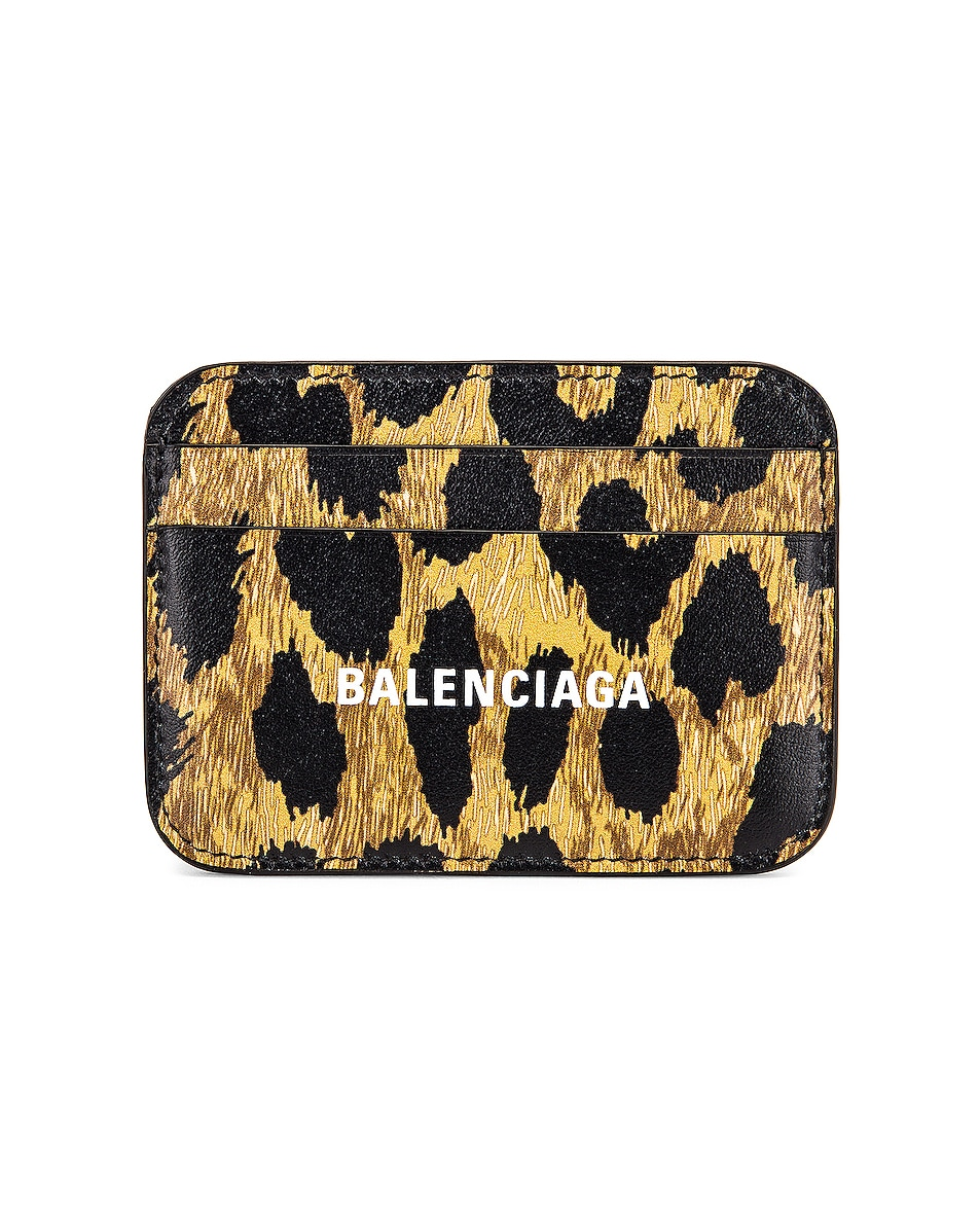 Image 1 of Balenciaga Leopard Cash Card Holder in Beige & White
