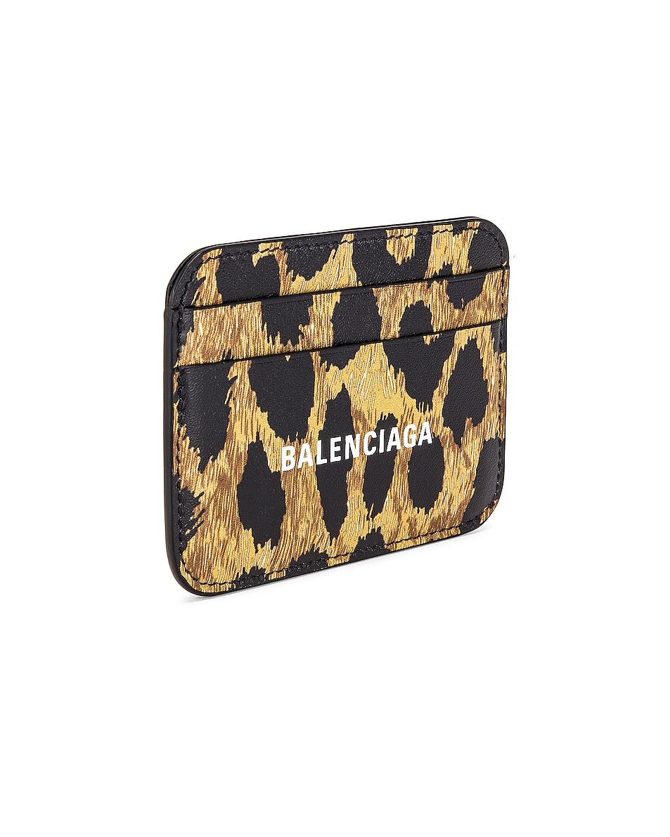 Image 3 of Balenciaga Leopard Cash Card Holder in Beige & White