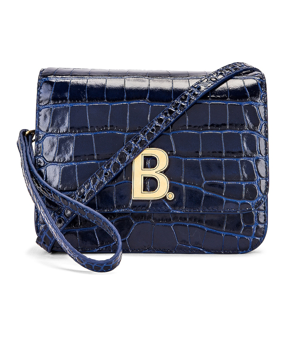 Image 1 of Balenciaga Small Embossed Croc B Bag in Navy