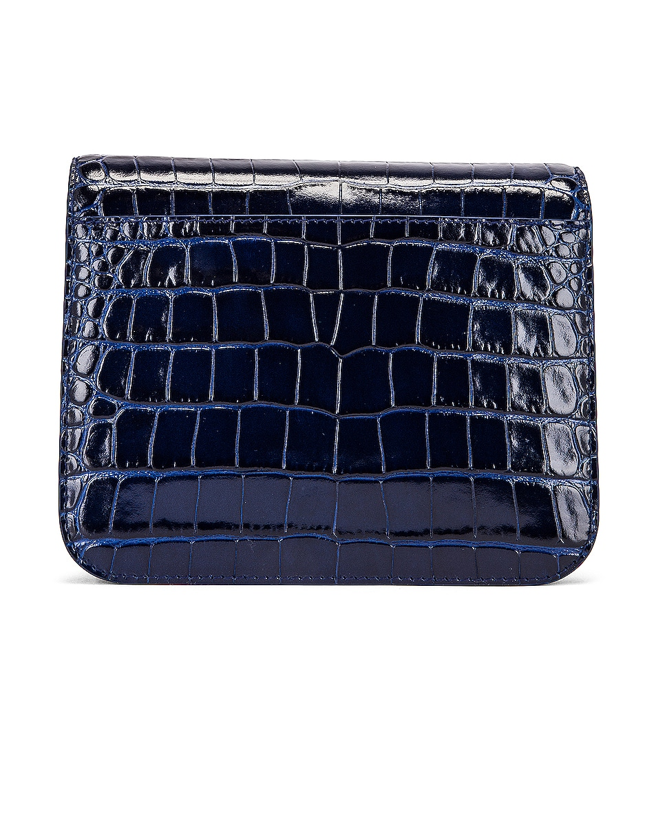 Image 3 of Balenciaga Small Embossed Croc B Bag in Navy