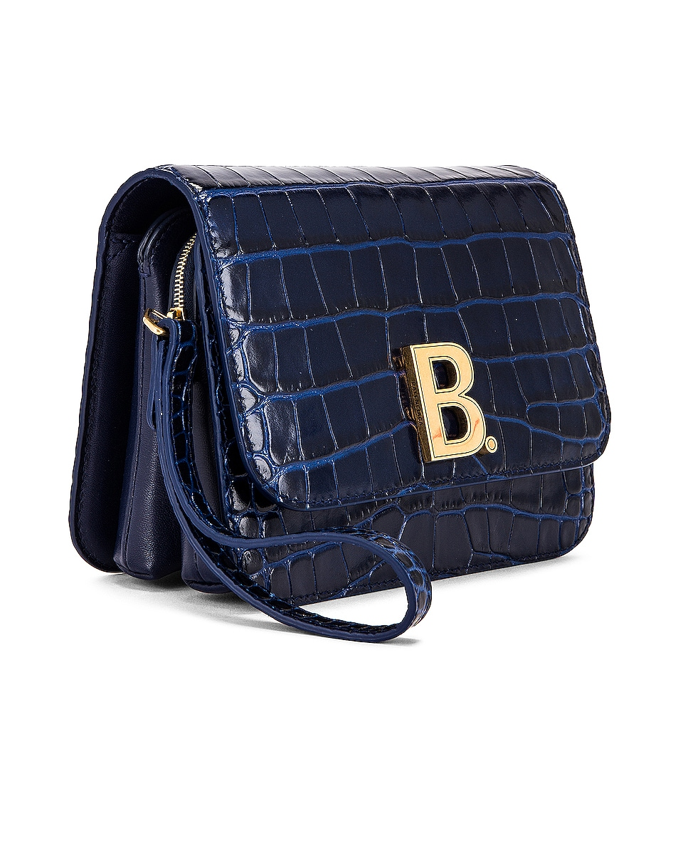 Image 4 of Balenciaga Small Embossed Croc B Bag in Navy