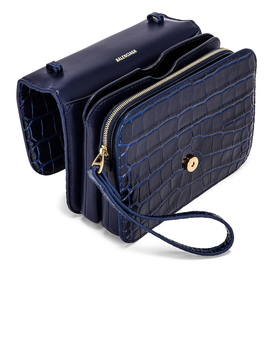 Image 5 of Balenciaga Small Embossed Croc B Bag in Navy
