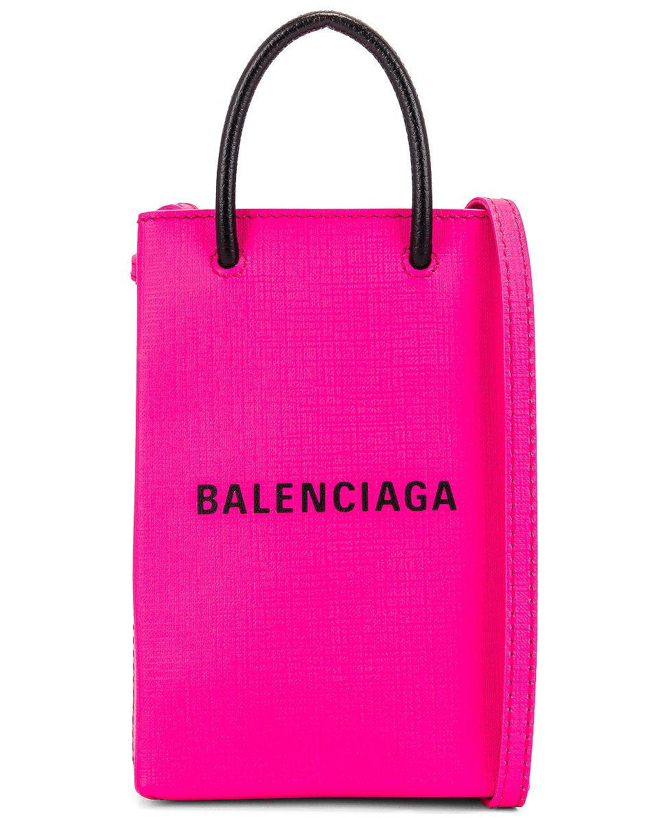 Image 1 of Balenciaga Shop Phone Holder Bag in Acid Fuchsia