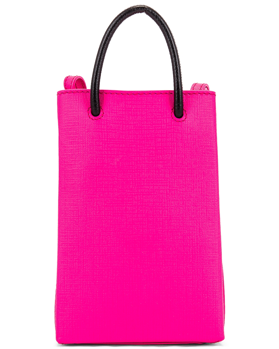 Image 3 of Balenciaga Shop Phone Holder Bag in Acid Fuchsia
