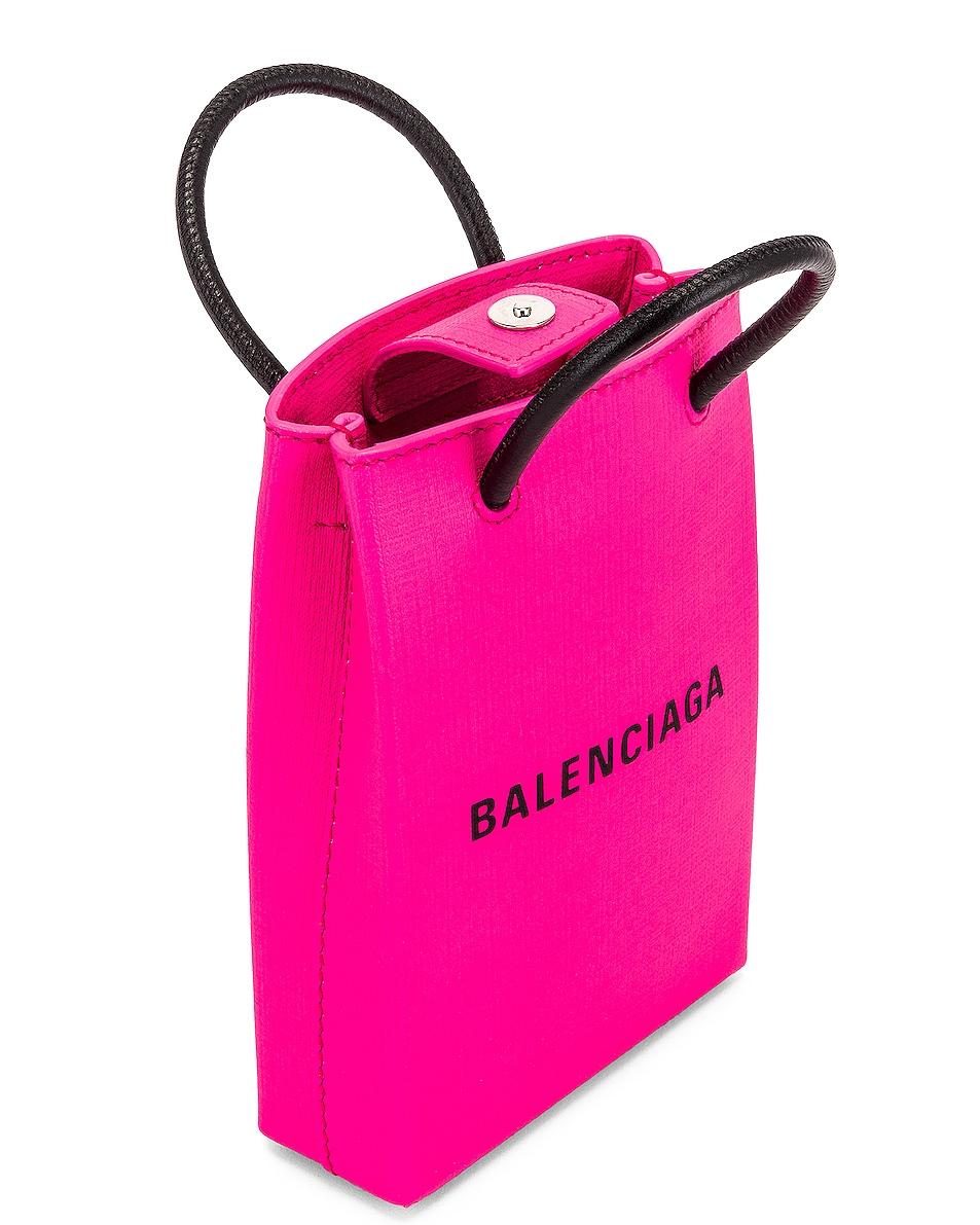 Image 5 of Balenciaga Shop Phone Holder Bag in Acid Fuchsia
