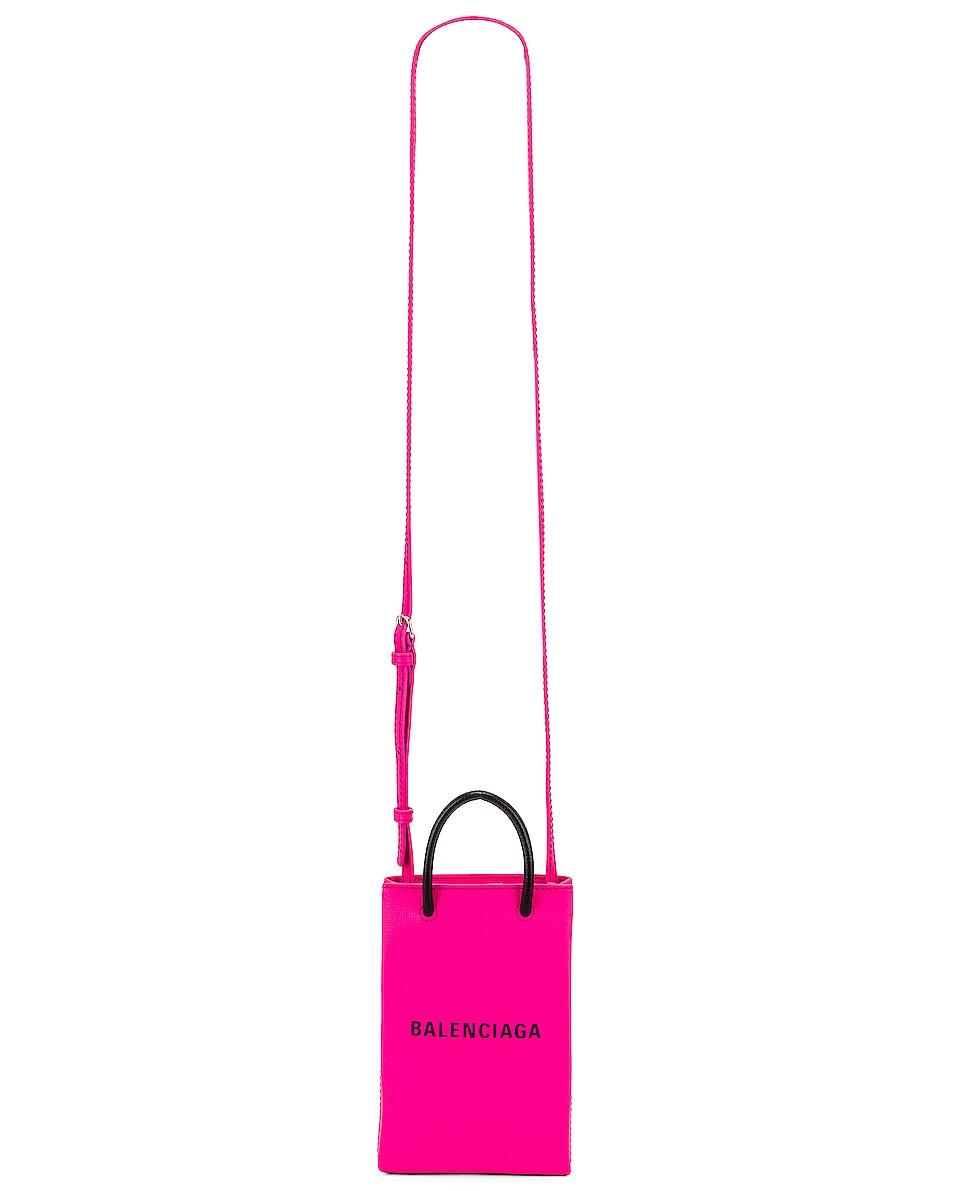 Image 6 of Balenciaga Shop Phone Holder Bag in Acid Fuchsia