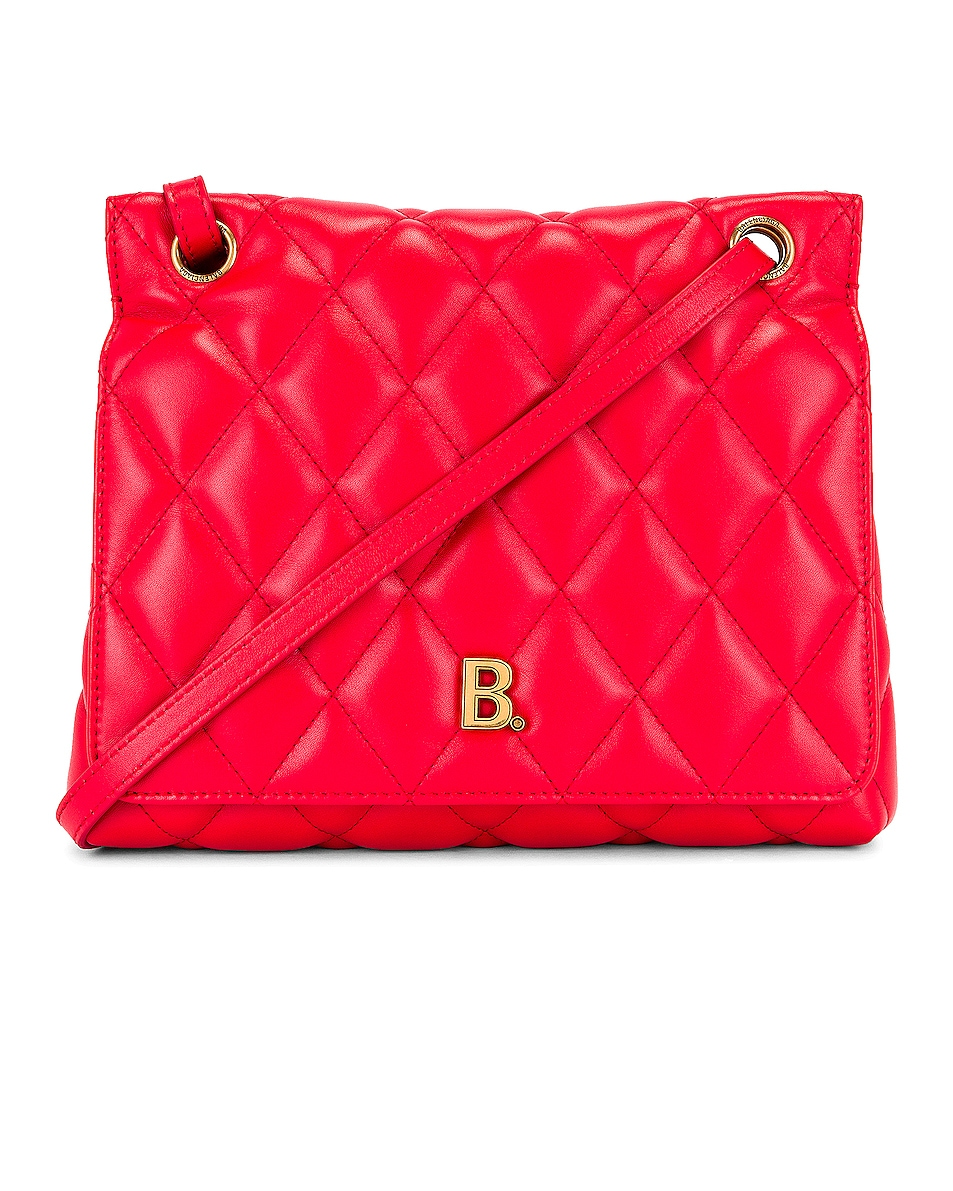 Image 1 of Balenciaga Medium Quilted Leather B Shoulder Bag in Bright Red