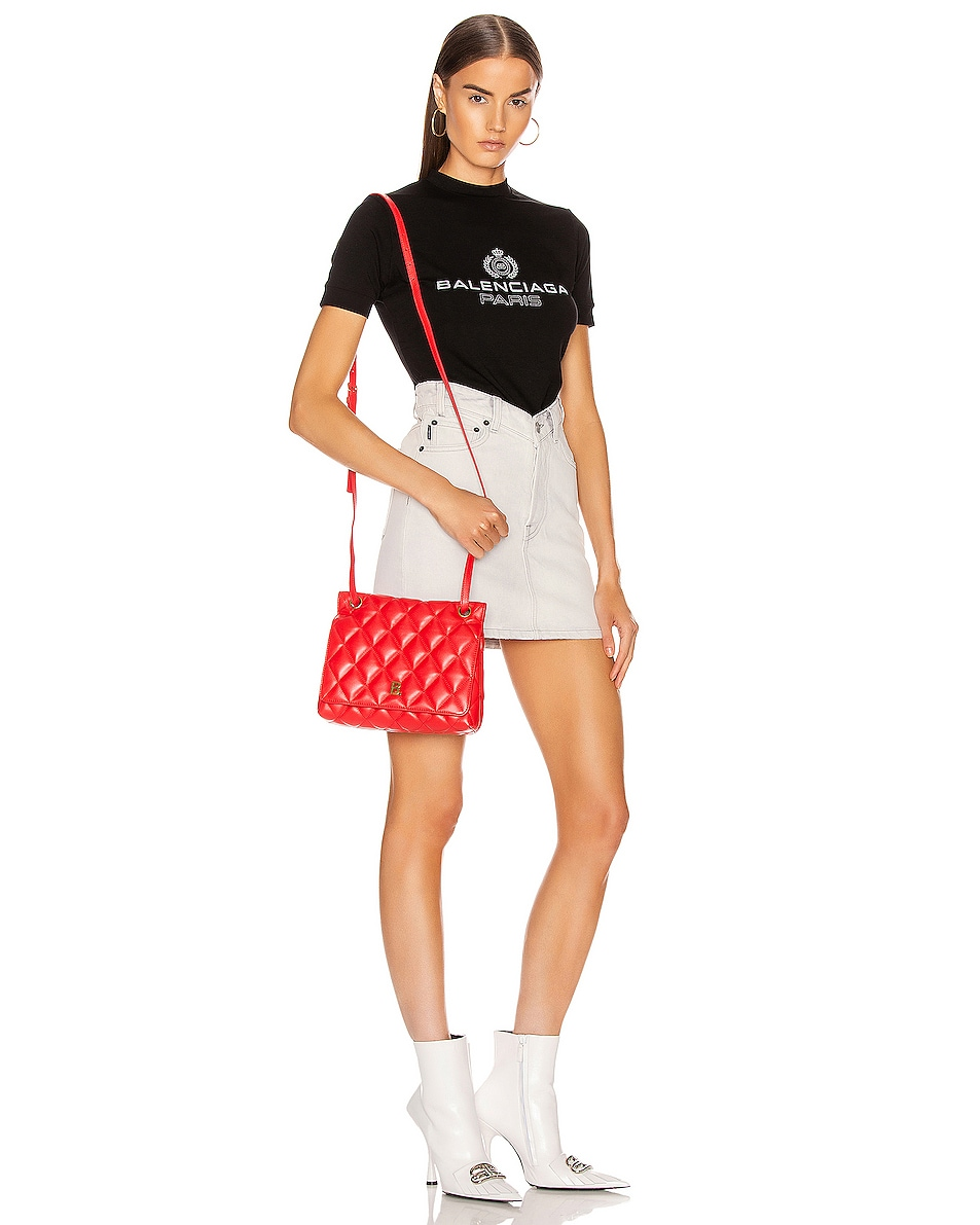 Image 2 of Balenciaga Medium Quilted Leather B Shoulder Bag in Bright Red
