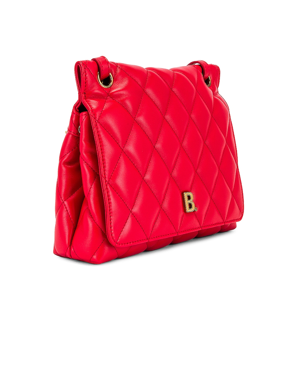Image 4 of Balenciaga Medium Quilted Leather B Shoulder Bag in Bright Red