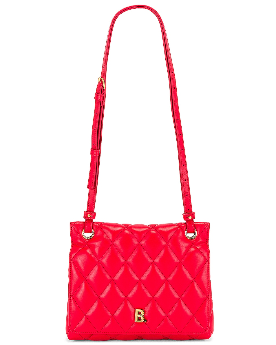 Image 6 of Balenciaga Medium Quilted Leather B Shoulder Bag in Bright Red