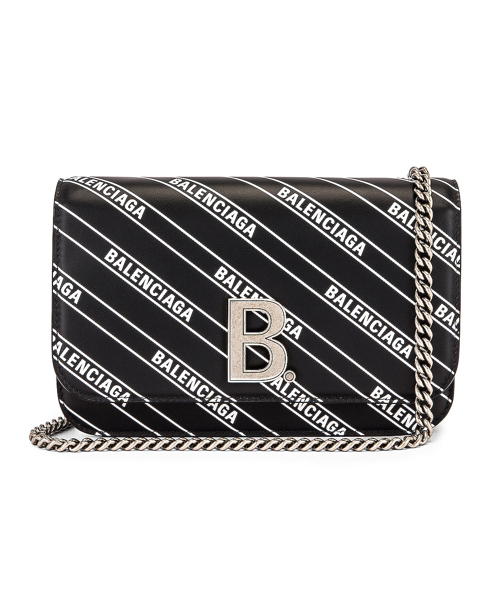 Image 1 of Balenciaga B Logo Wallet on Chain Bag in Black & White