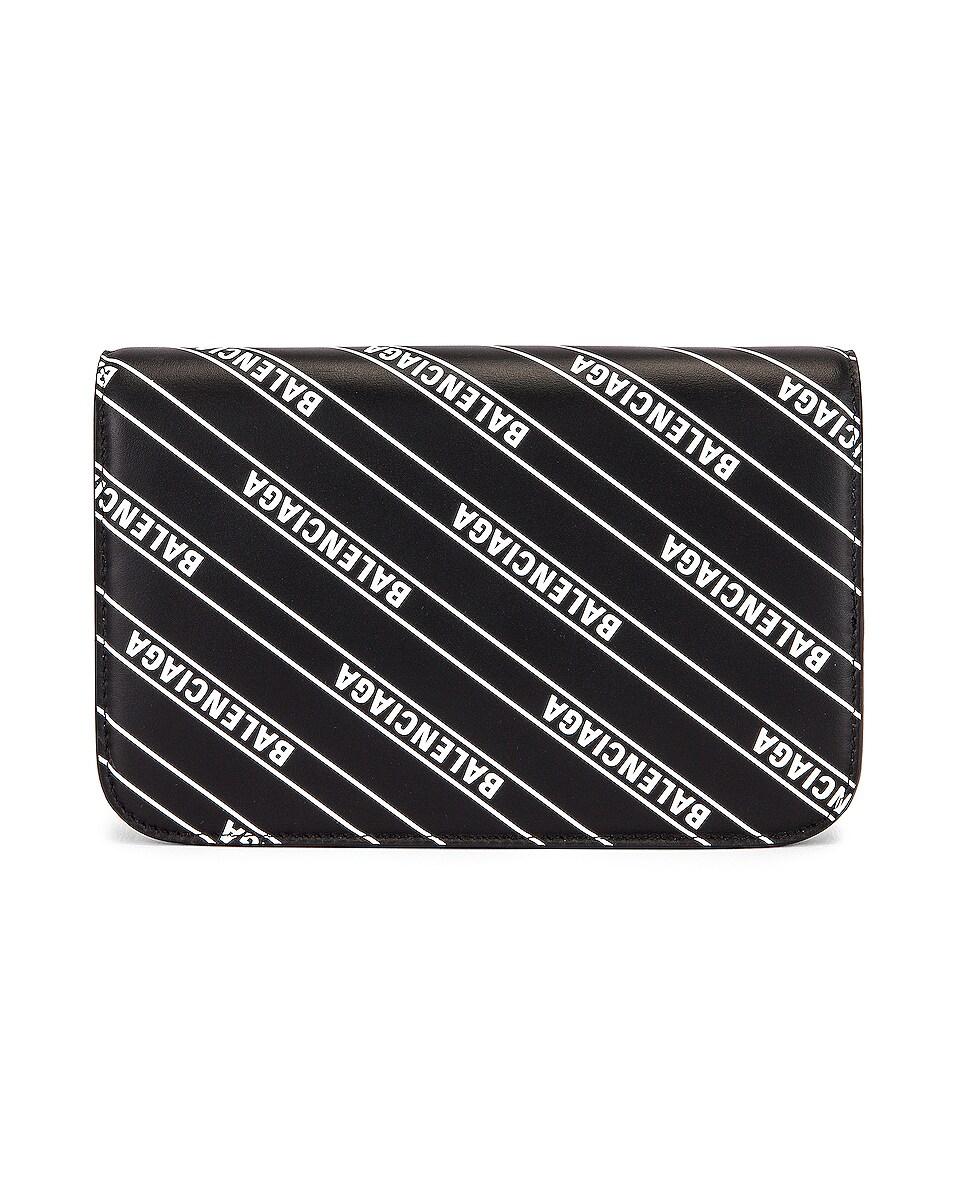 Image 3 of Balenciaga B Logo Wallet on Chain Bag in Black & White