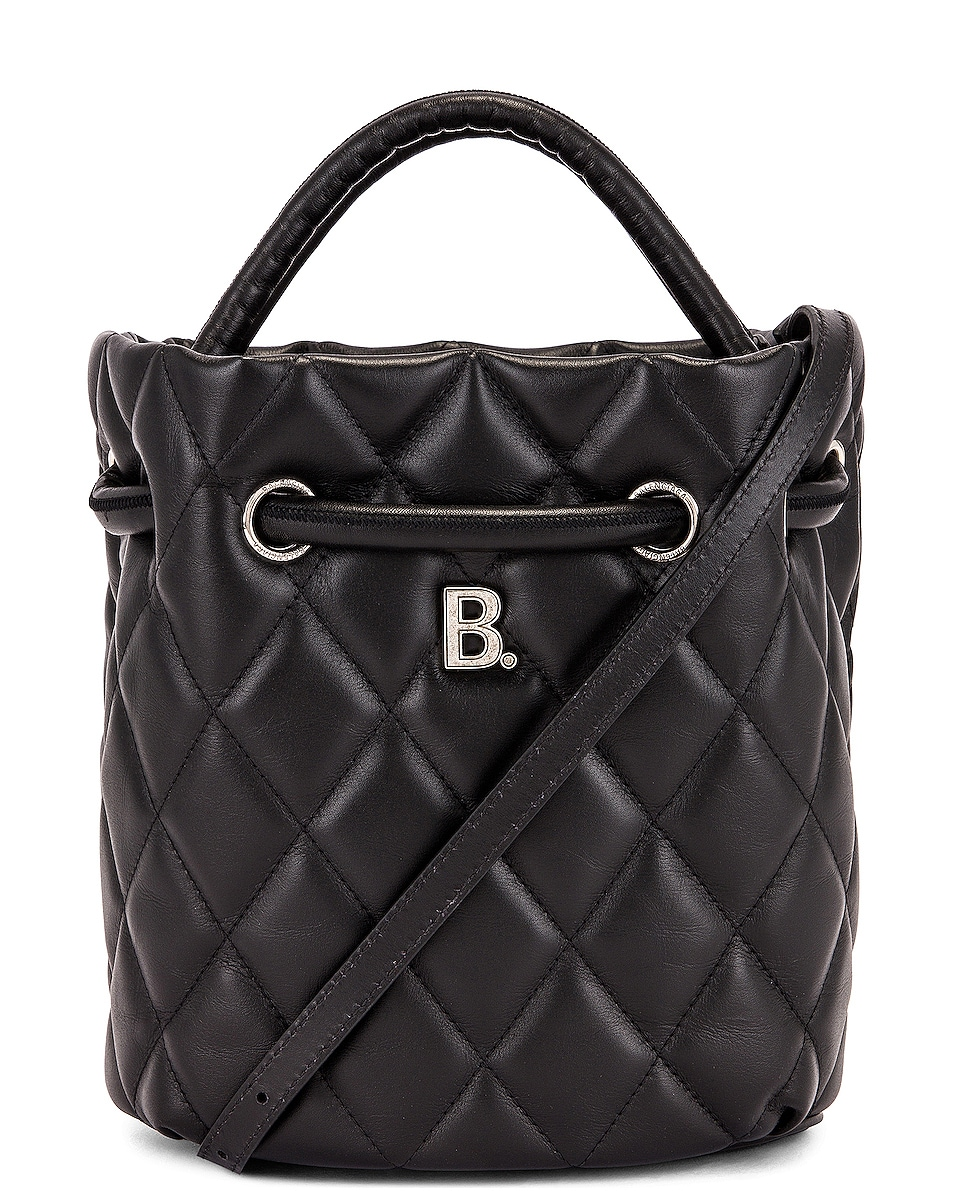 Image 1 of Balenciaga Small Quilted Leather B Bucket Bag in Black