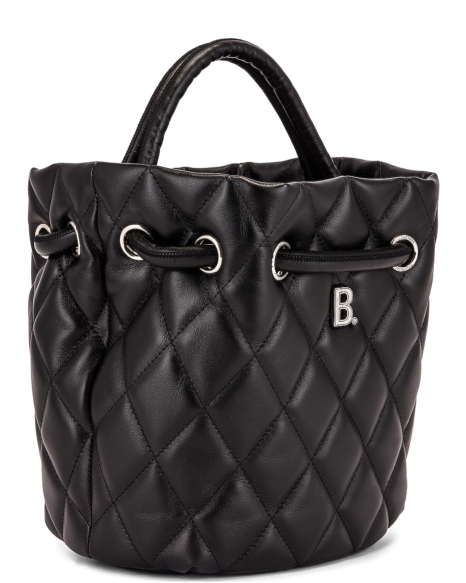 Image 4 of Balenciaga Small Quilted Leather B Bucket Bag in Black