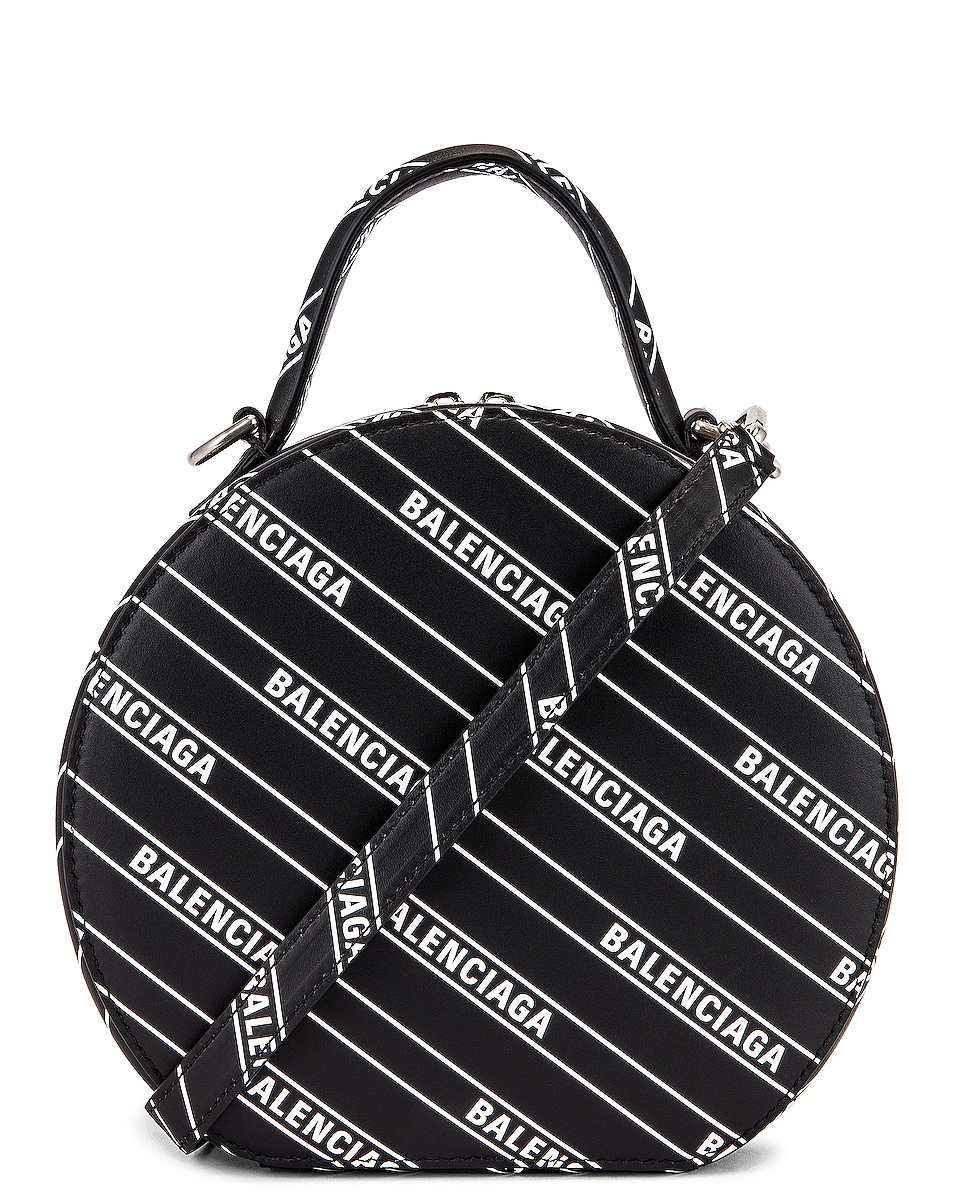 Image 1 of Balenciaga XS Logo Vanity Round Bag in Black & White