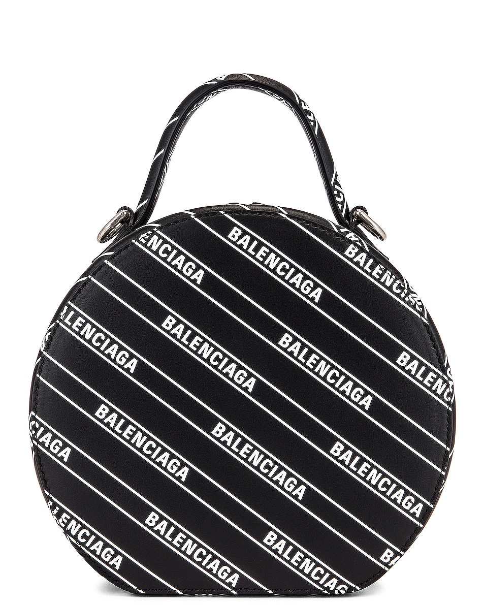 Image 3 of Balenciaga XS Logo Vanity Round Bag in Black & White