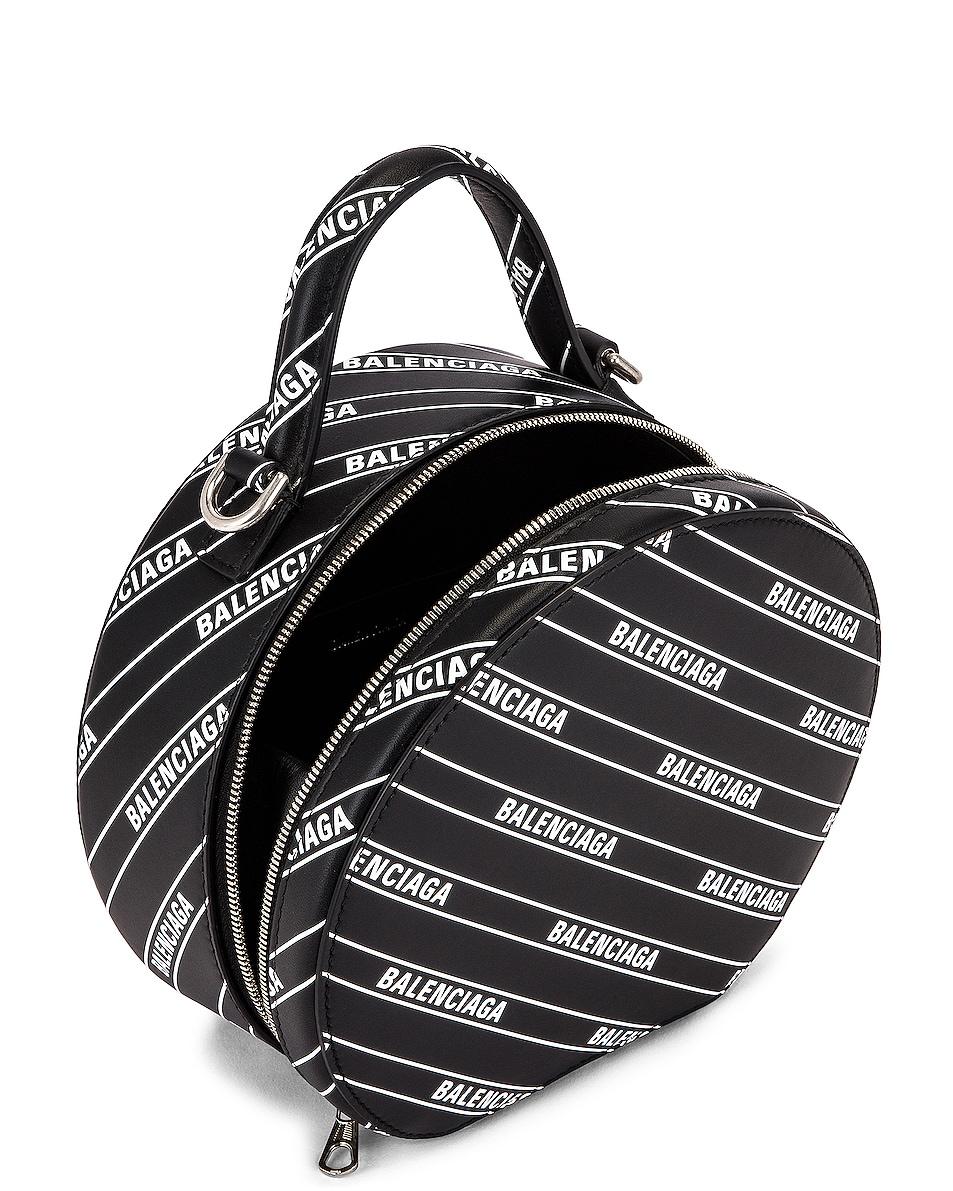 Image 5 of Balenciaga XS Logo Vanity Round Bag in Black & White
