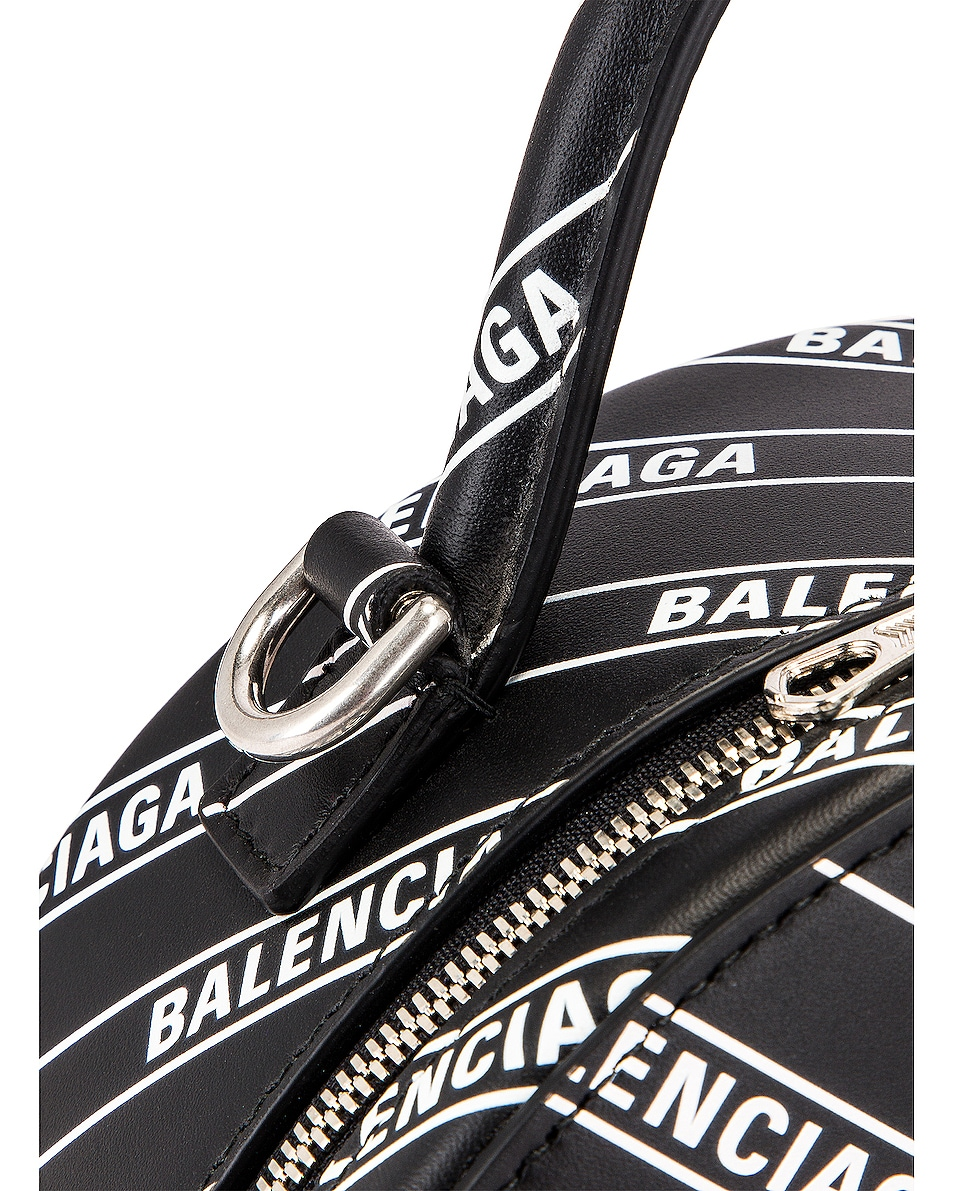 Image 8 of Balenciaga XS Logo Vanity Round Bag in Black & White