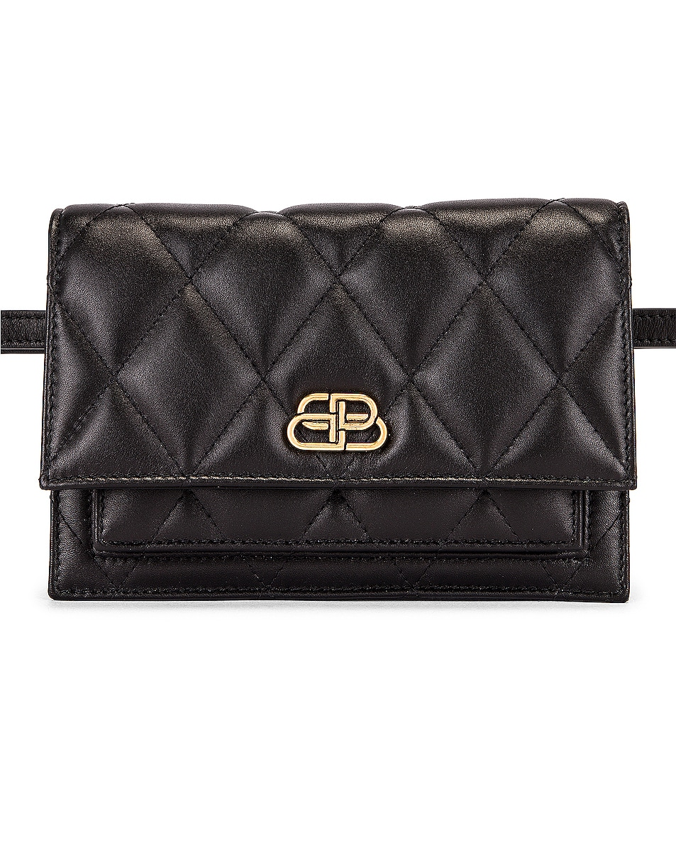 Image 1 of Balenciaga XS Quilted Leather Sharp Belt Bag in Black