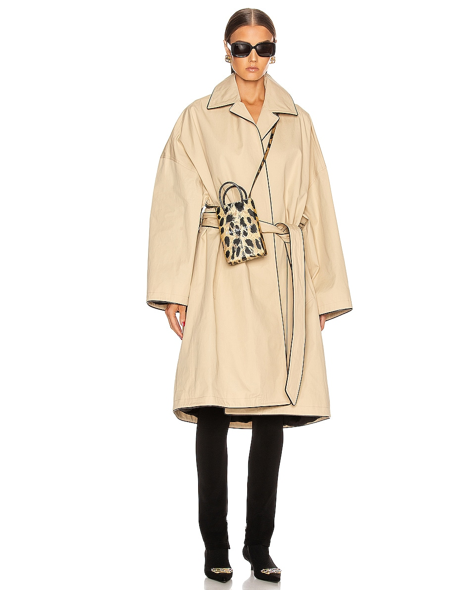 Image 2 of Balenciaga Leopard Shop Phone Holder Bag in Brown