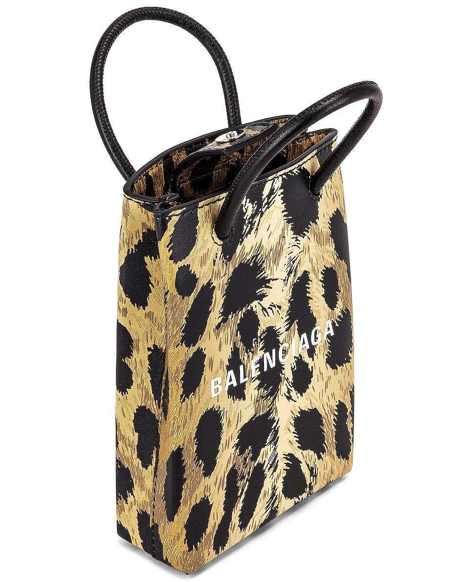 Image 5 of Balenciaga Leopard Shop Phone Holder Bag in Brown