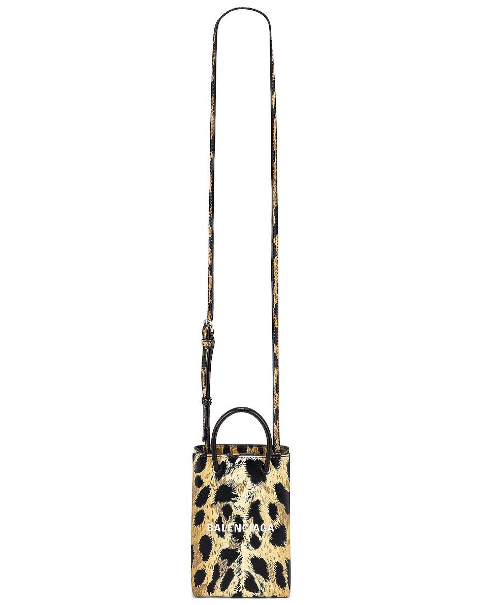 Image 6 of Balenciaga Leopard Shop Phone Holder Bag in Brown