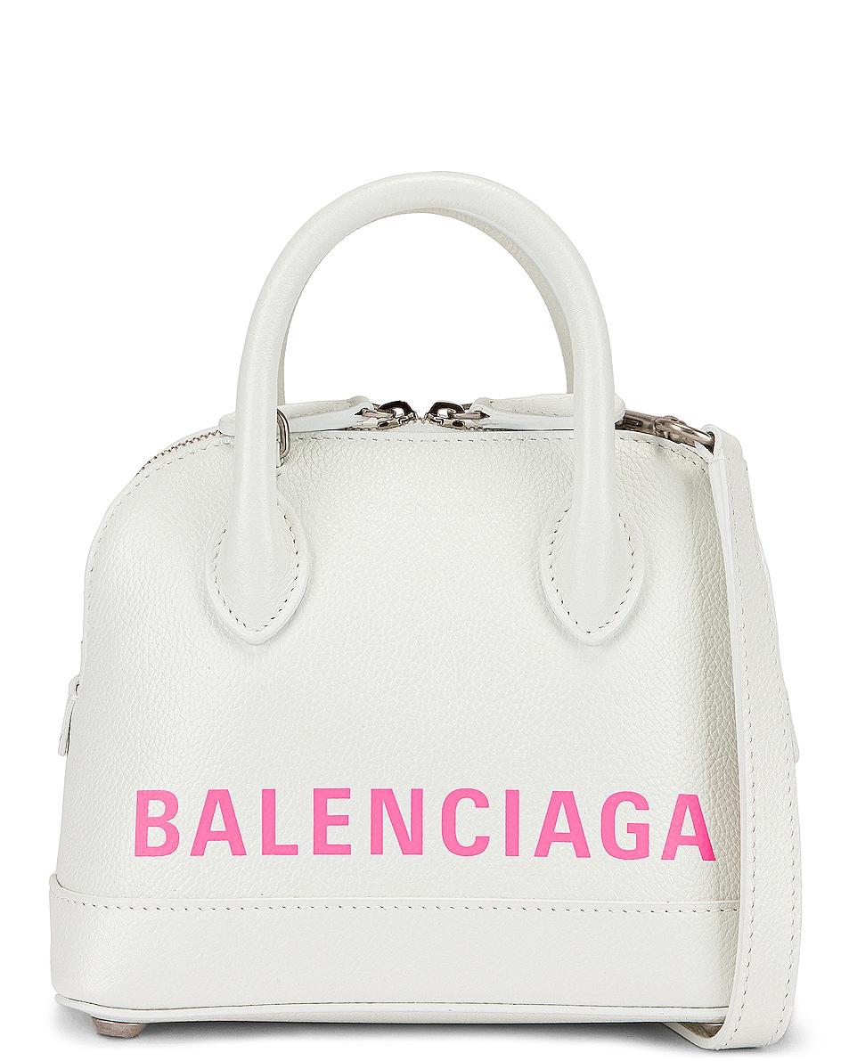 Image 1 of Balenciaga XXS Logo Ville Top Handle Bag in White & Fluo Pink