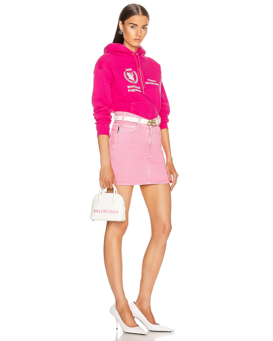 Image 2 of Balenciaga XXS Logo Ville Top Handle Bag in White & Fluo Pink