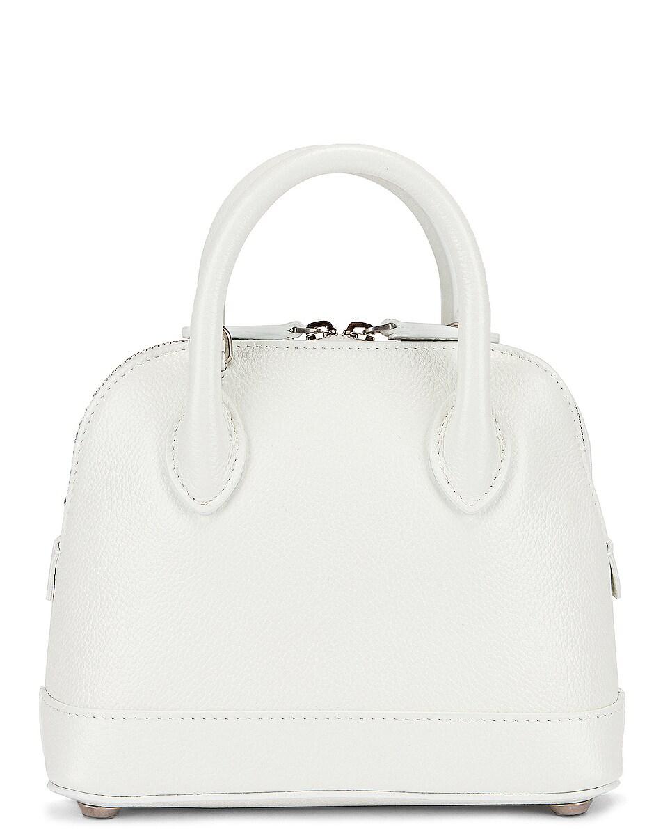 Image 3 of Balenciaga XXS Logo Ville Top Handle Bag in White & Fluo Pink