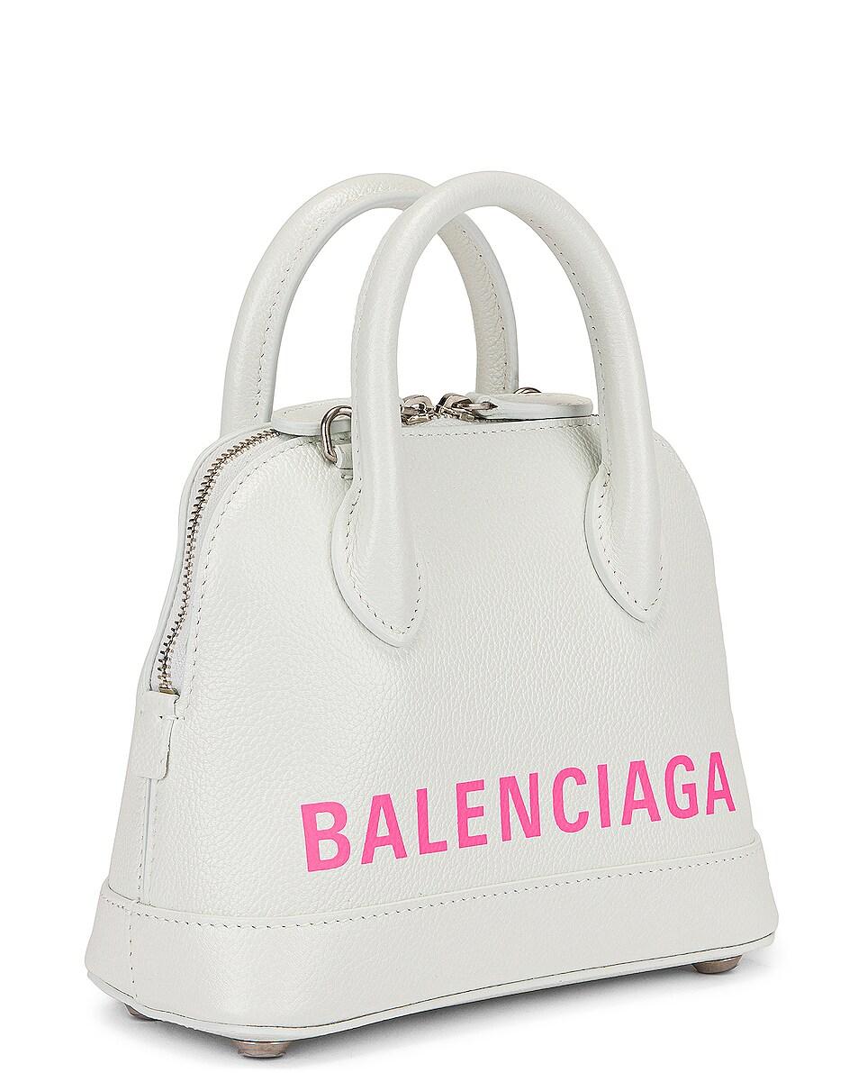 Image 4 of Balenciaga XXS Logo Ville Top Handle Bag in White & Fluo Pink