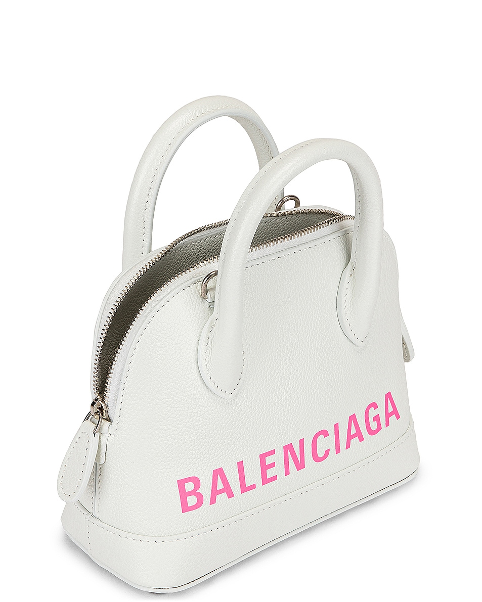 Image 5 of Balenciaga XXS Logo Ville Top Handle Bag in White & Fluo Pink