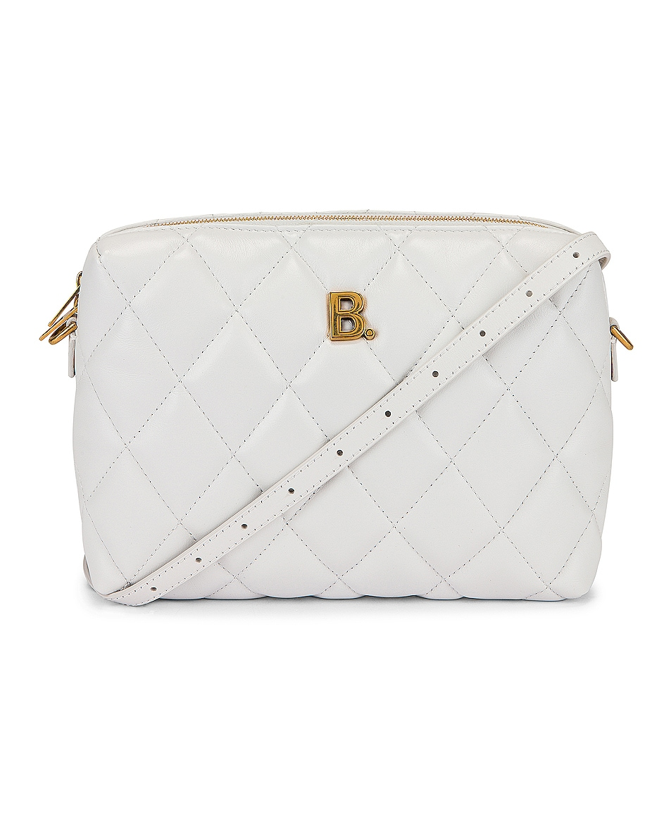 Image 1 of Balenciaga B Quilted Leather Camera Bag in White