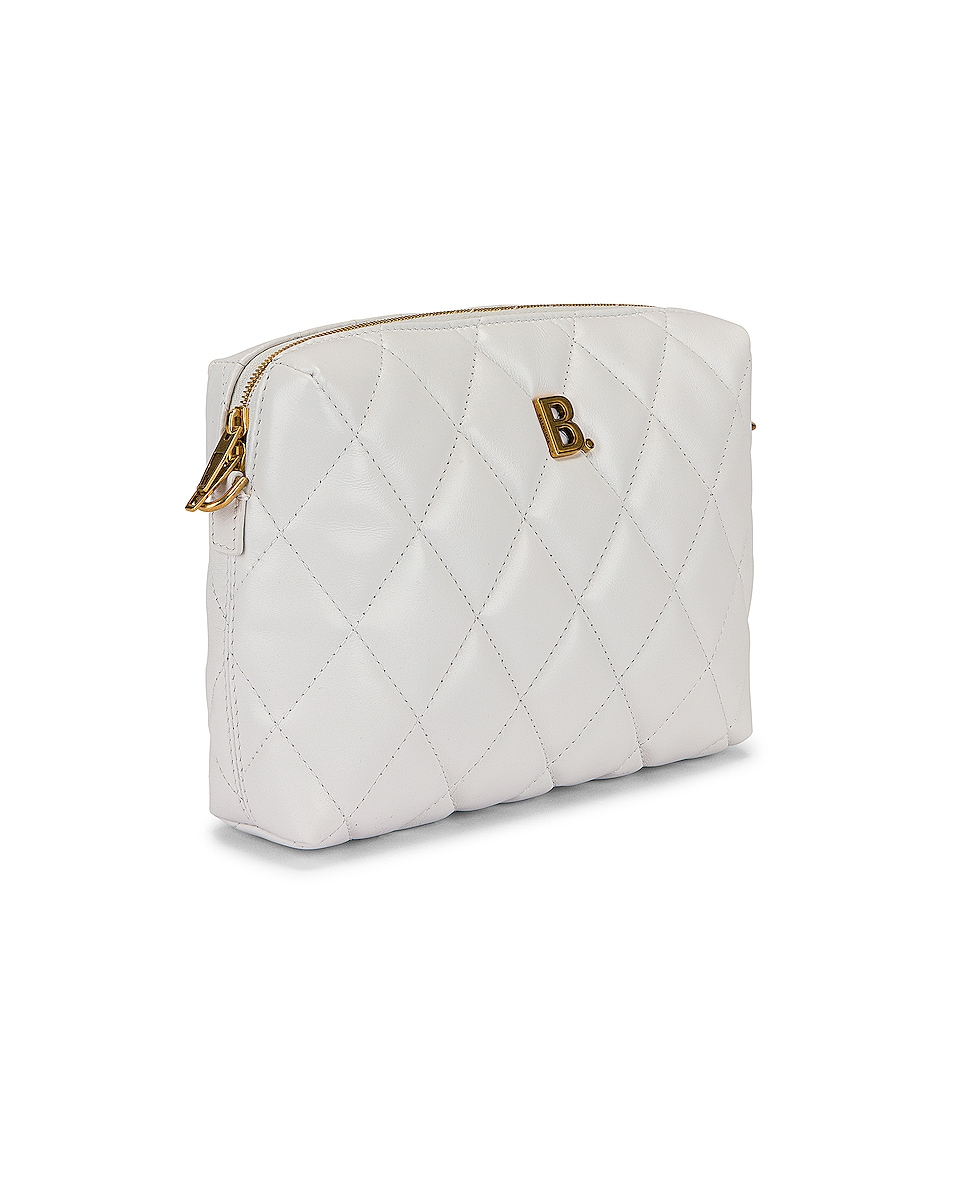 Image 4 of Balenciaga B Quilted Leather Camera Bag in White