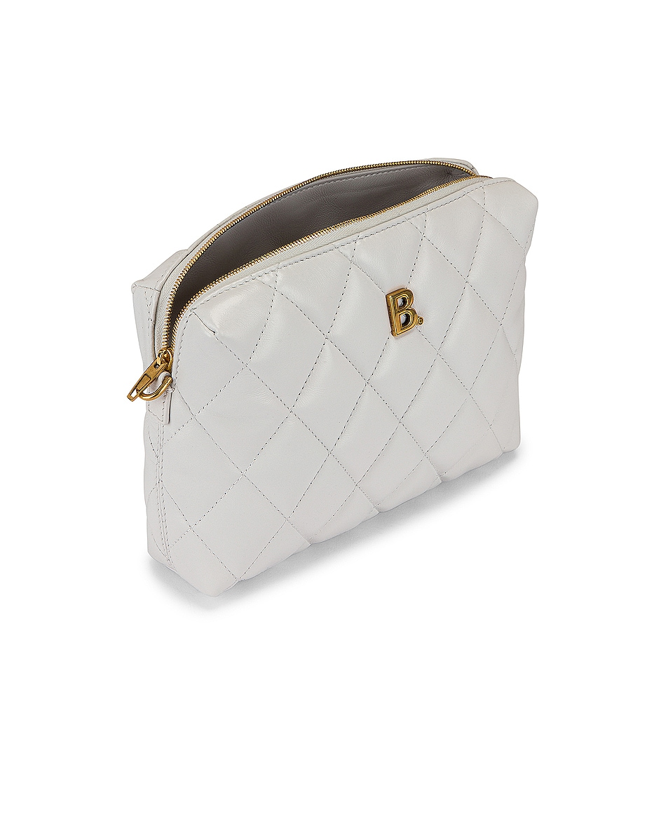 Image 5 of Balenciaga B Quilted Leather Camera Bag in White