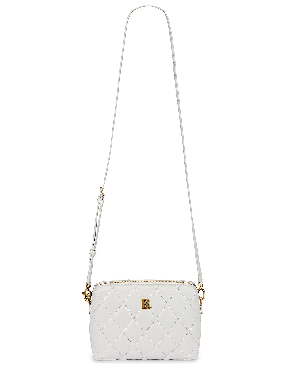 Image 6 of Balenciaga B Quilted Leather Camera Bag in White