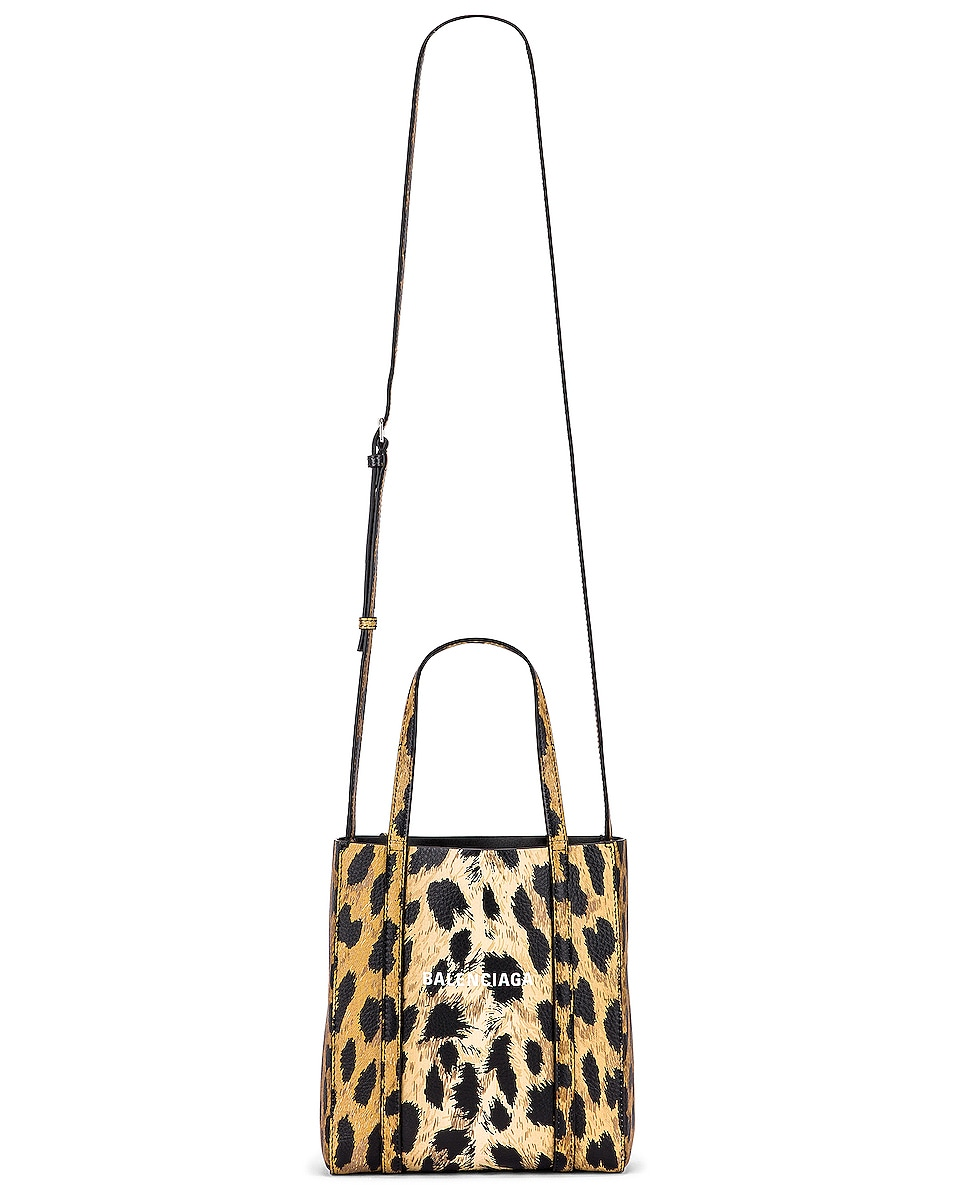 Image 6 of Balenciaga XXS Leopard Everyday Tote in Brown & White
