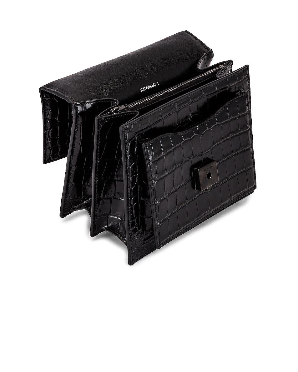 Image 5 of Balenciaga Small Embossed Croc Sharp Chain Bag in Black