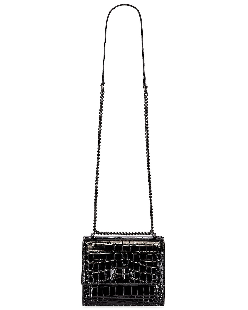 Image 6 of Balenciaga Small Embossed Croc Sharp Chain Bag in Black