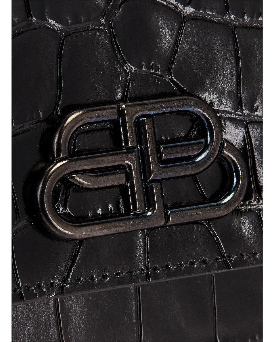 Image 8 of Balenciaga Small Embossed Croc Sharp Chain Bag in Black