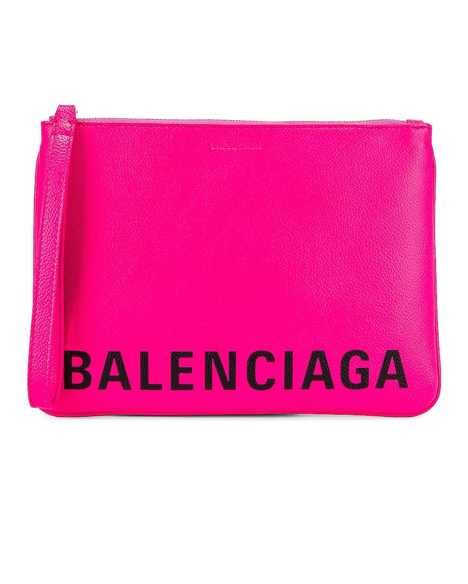 Image 1 of Balenciaga Medium Cash Handle Pouch in Acid Fuchsia & Black