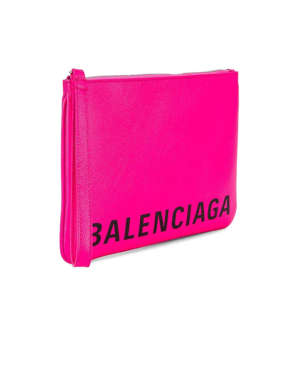 Image 4 of Balenciaga Medium Cash Handle Pouch in Acid Fuchsia & Black
