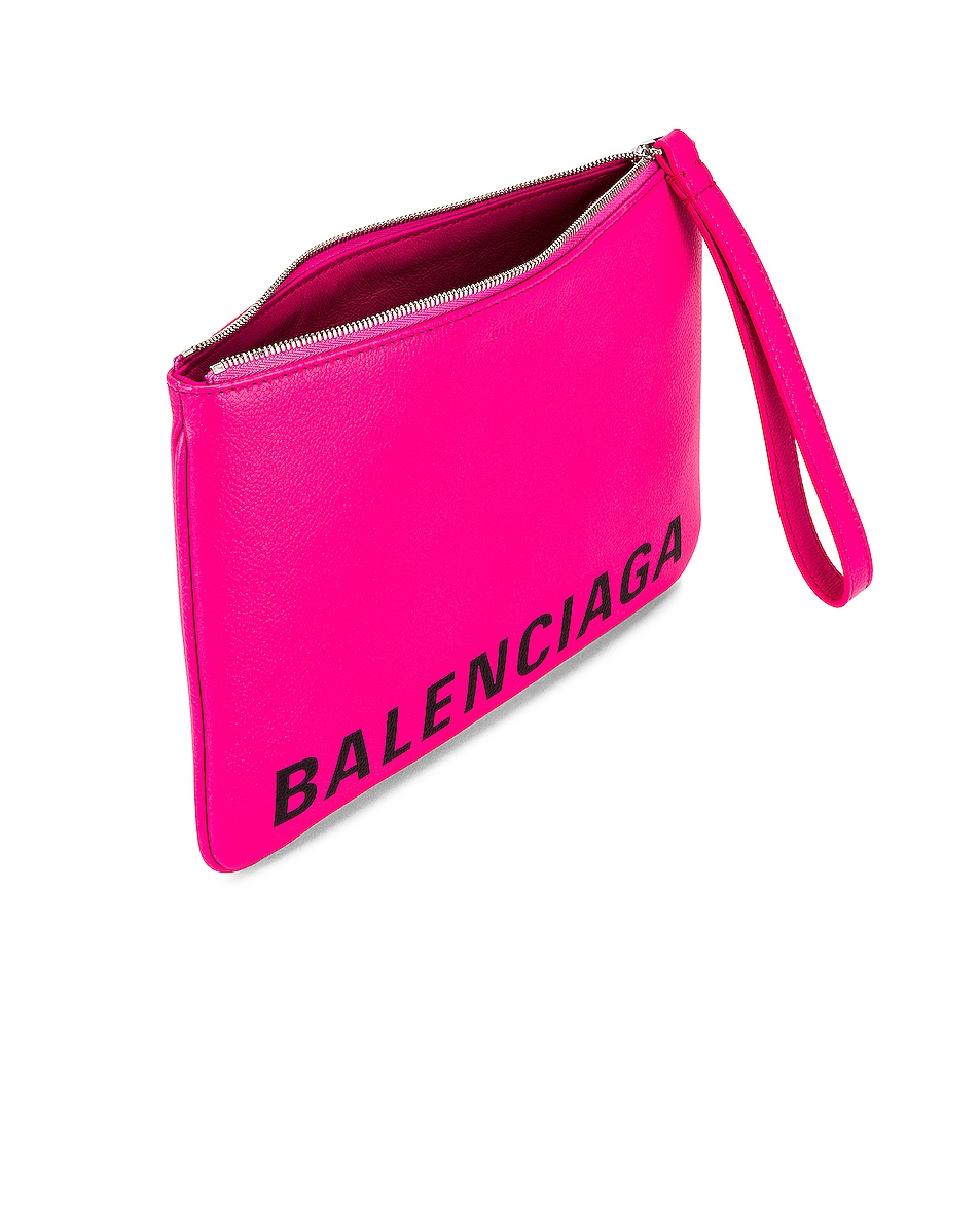 Image 5 of Balenciaga Medium Cash Handle Pouch in Acid Fuchsia & Black
