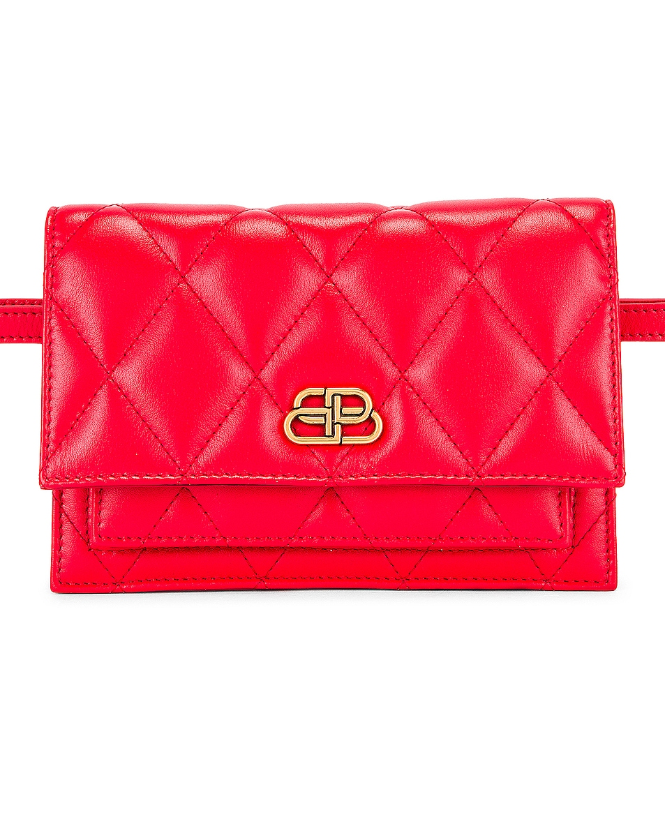 Image 1 of Balenciaga XS Quilted Leather Sharp Belt Bag in Bright Red
