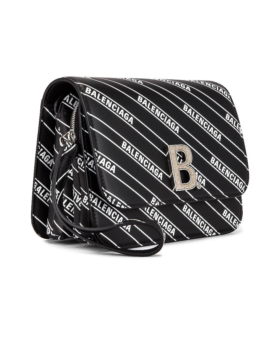 Image 4 of Balenciaga Small Diagonal Logo B Bag in Black & White