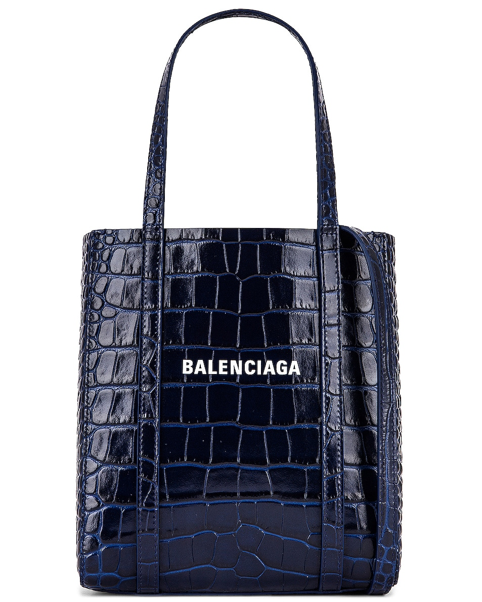 Image 1 of Balenciaga XXS Embossed Croc Everyday Tote in Navy
