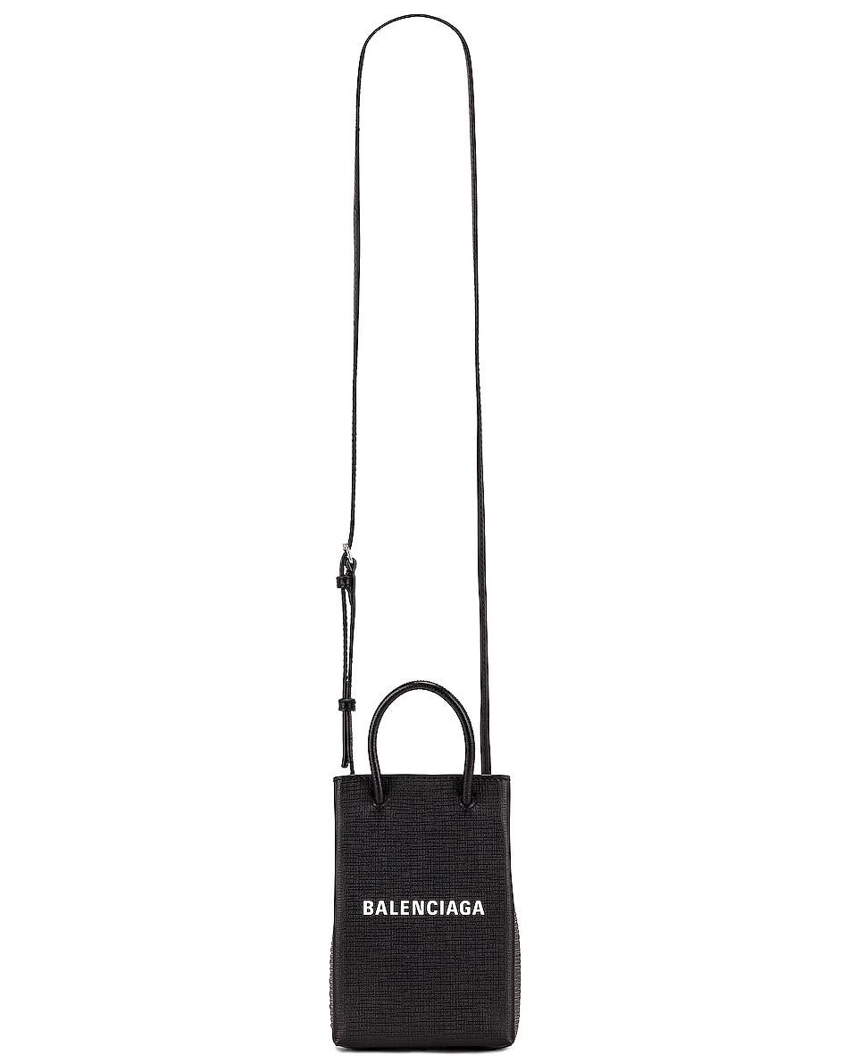 Image 6 of Balenciaga Shop Phone Holder Bag in Black