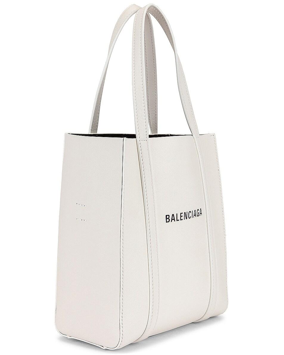 Image 4 of Balenciaga XXS Logo Everyday Tote in White & Black