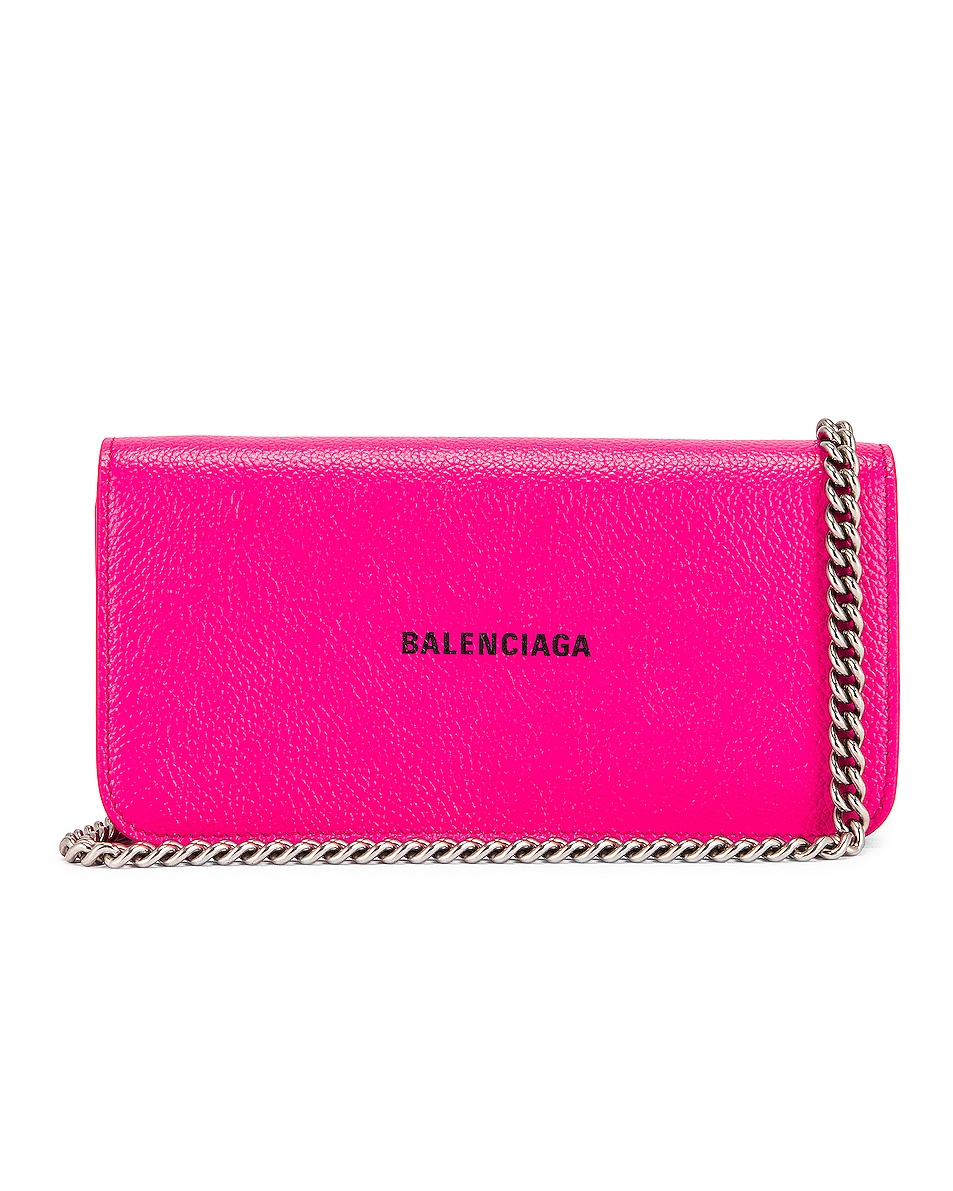 Image 1 of Balenciaga Cash Continental Chain Bag in Acid Fuchsia & Black