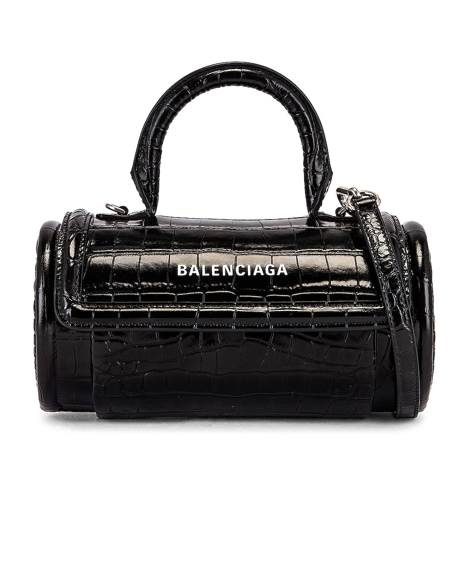 Image 1 of Balenciaga Small Embossed Croc Round Top Handle Bag in Black