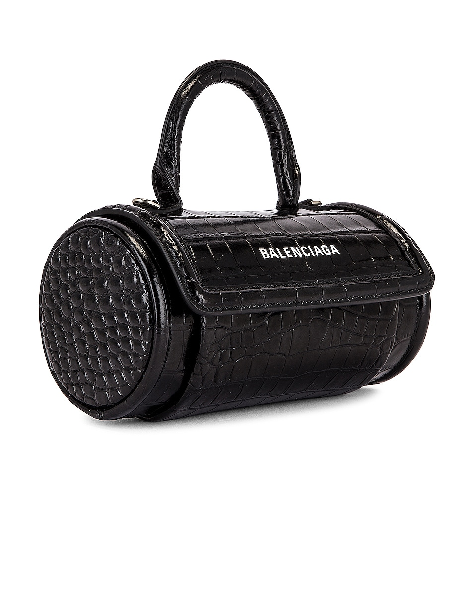 Image 4 of Balenciaga Small Embossed Croc Round Top Handle Bag in Black